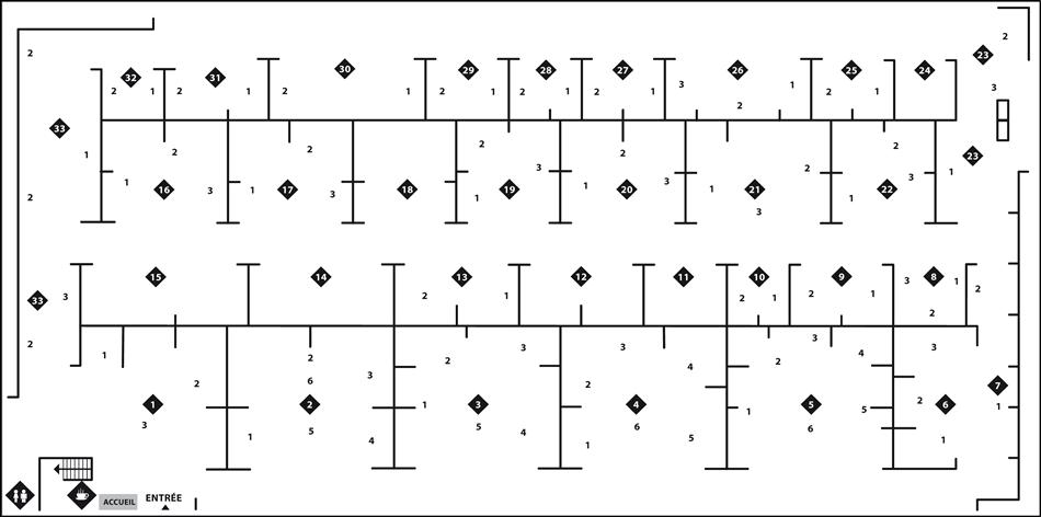 Le plan d'emplacement des artistes de Libr'Art pour l'année 2012